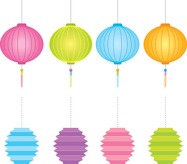 Paper Lantern Clip Art, Vector Images & Illustrations - iStock