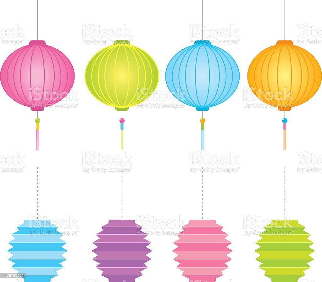 Paper Lanterns Vector Vector Art Illustration