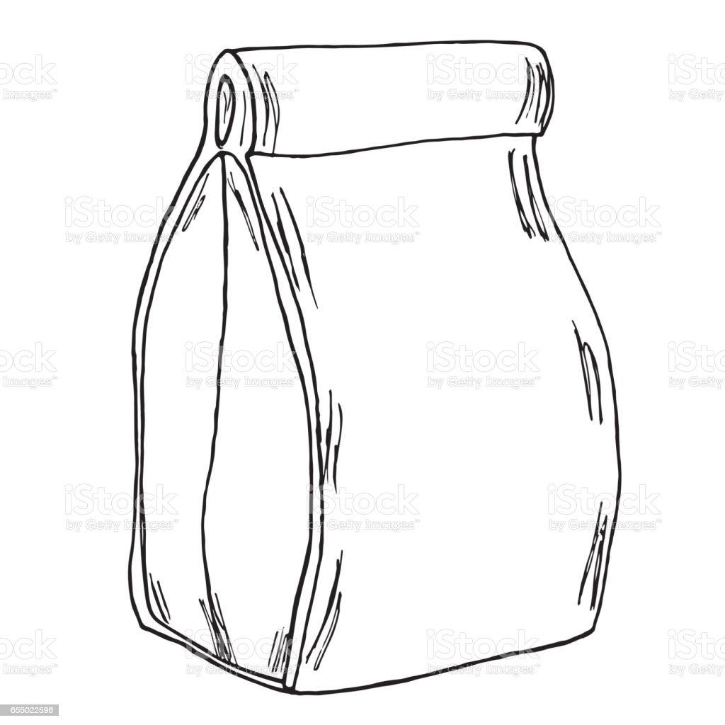 Paper bag sketch - Paper Lunch Bag Hand Drawn Cartoon Sketch Vector Royalty Free Stock Vector Art