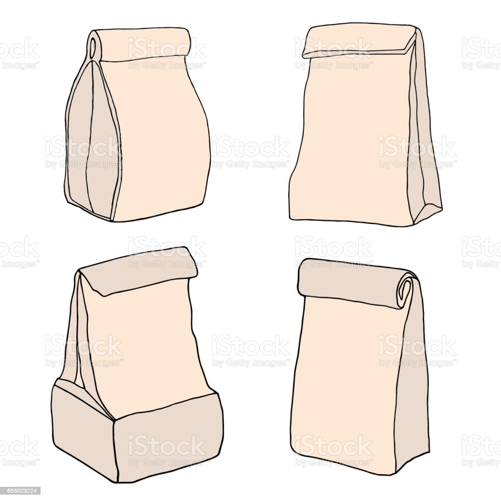 Paper lunch bags. Food bags collection. vector art illustration
