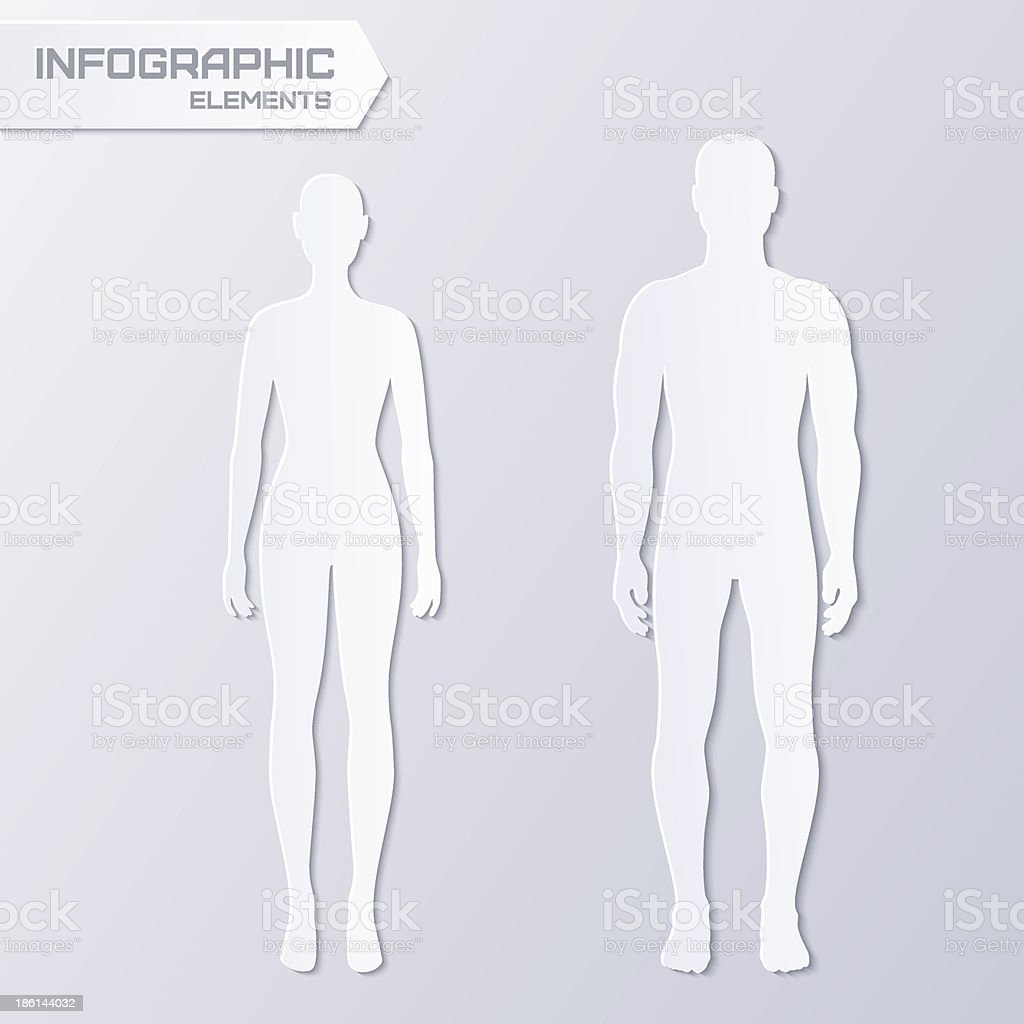 Paper male and female silhouettes vector art illustration