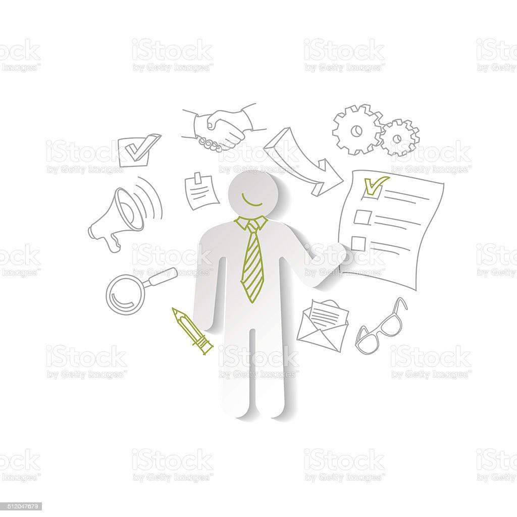 Homem de papel e cheking lista. conceito de negócios. vetor e ilustração royalty-free royalty-free
