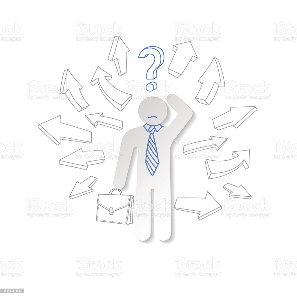 Homem de papel, orientação e interrogação.  Conceito de negócios. vetor e ilustração royalty-free royalty-free