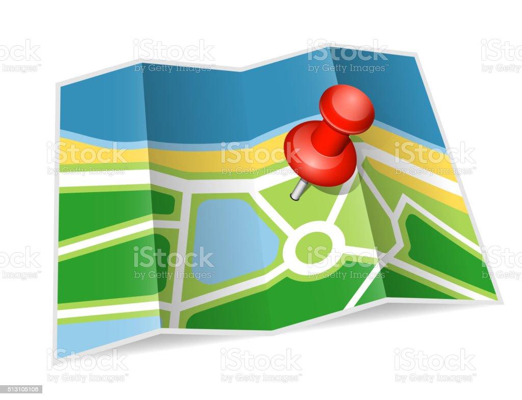 Paper map vector art illustration