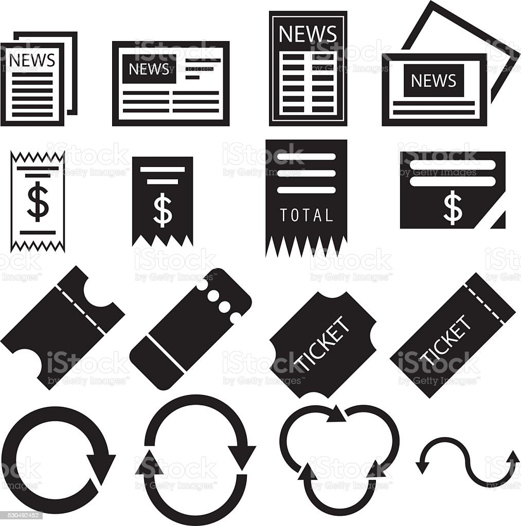 Paper News And Bill Icons vector art illustration