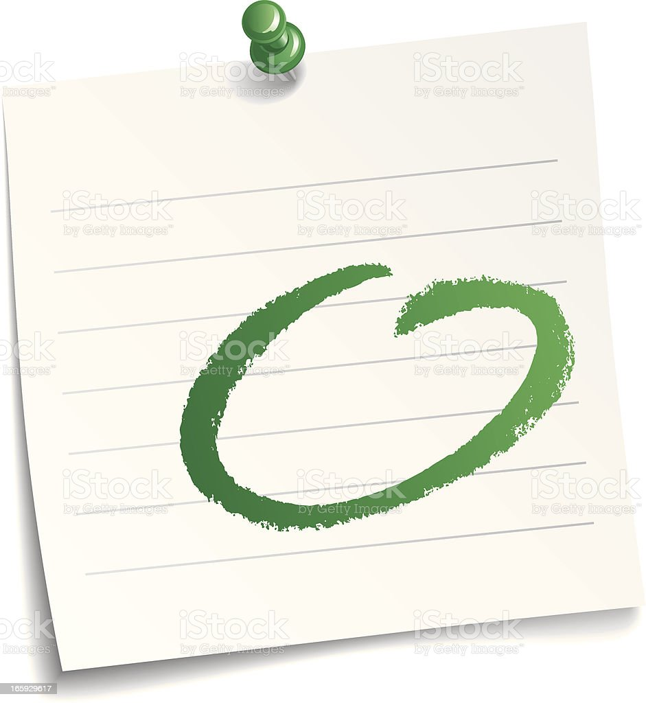 Paper note with a green circle on it over a white background royalty-free stock vector art
