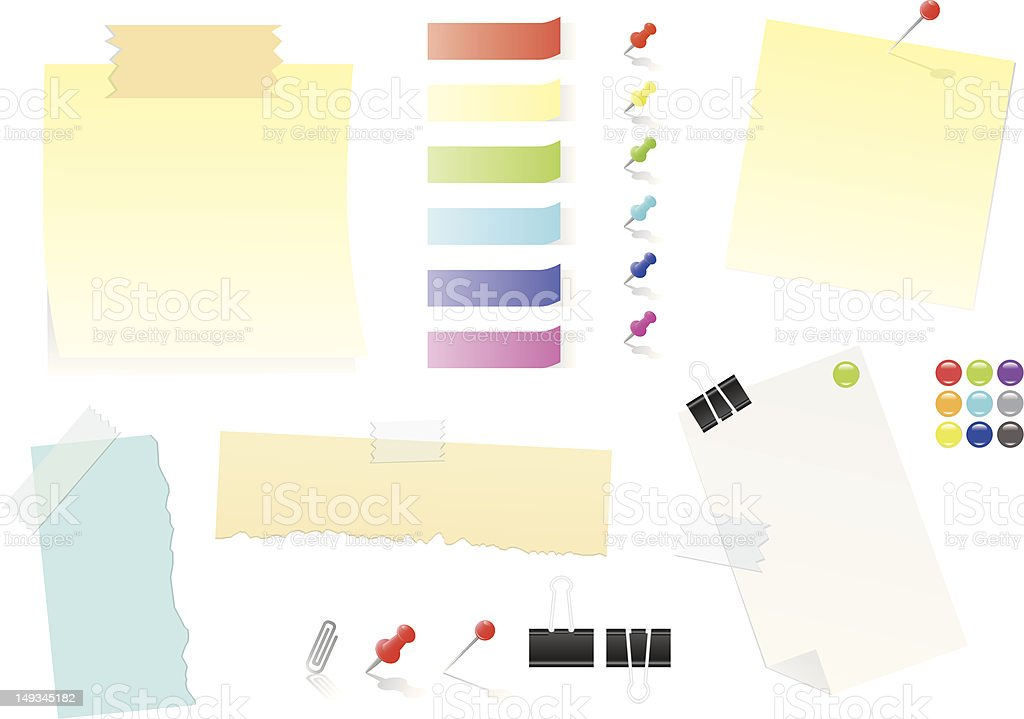 Paper Notes And Post-it Stickers vector art illustration