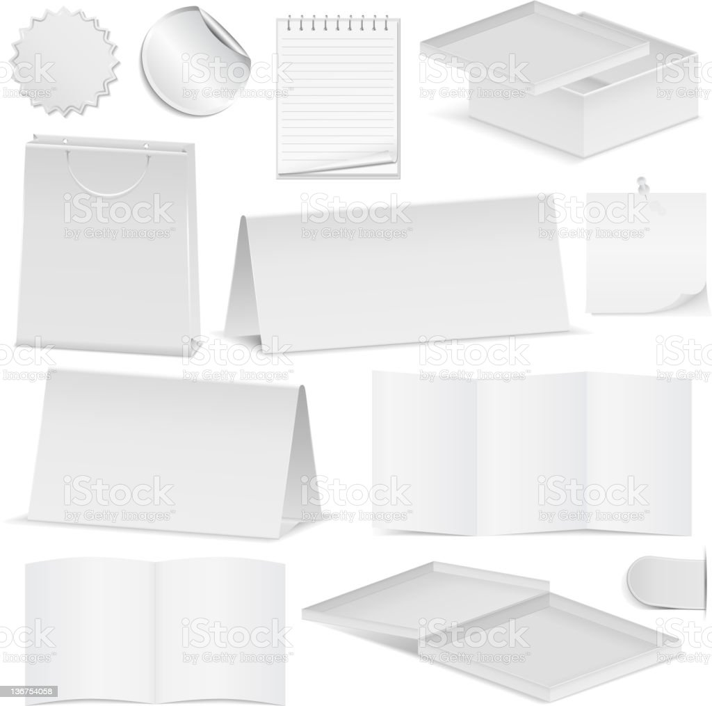 Paper objects royalty-free stock vector art
