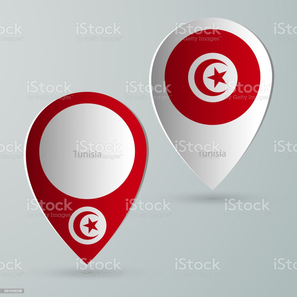 paper of map marker for maps tunisia vector art illustration