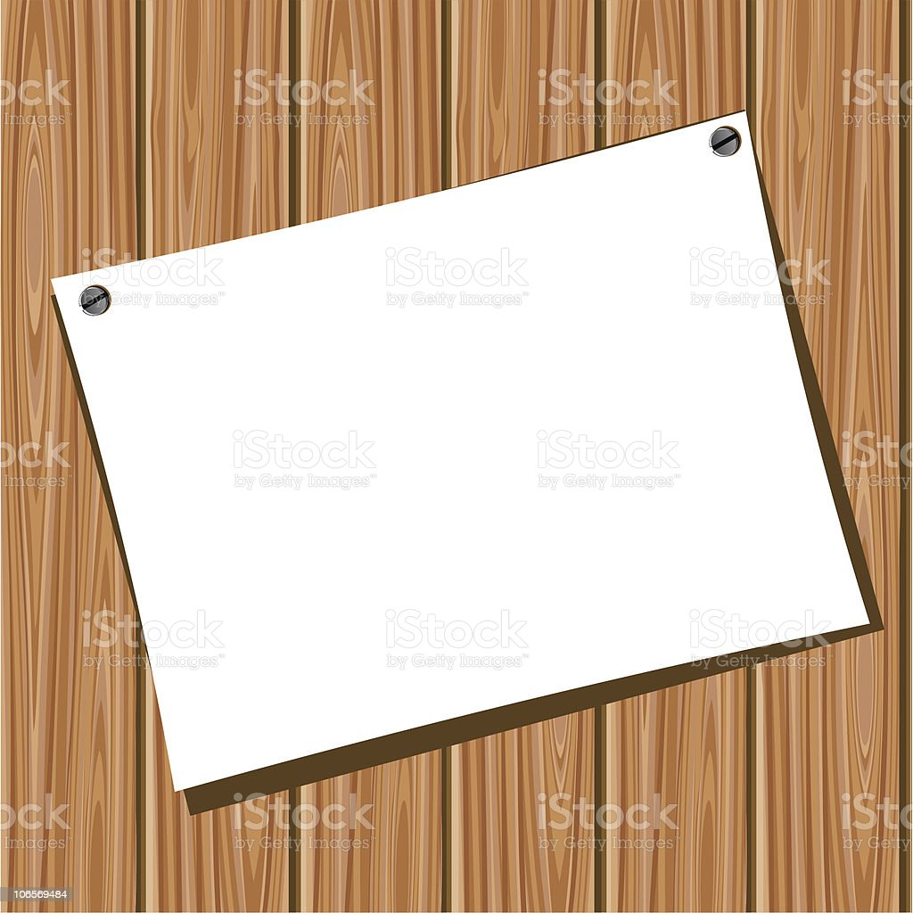 Paper on a wooden wall royalty-free stock vector art