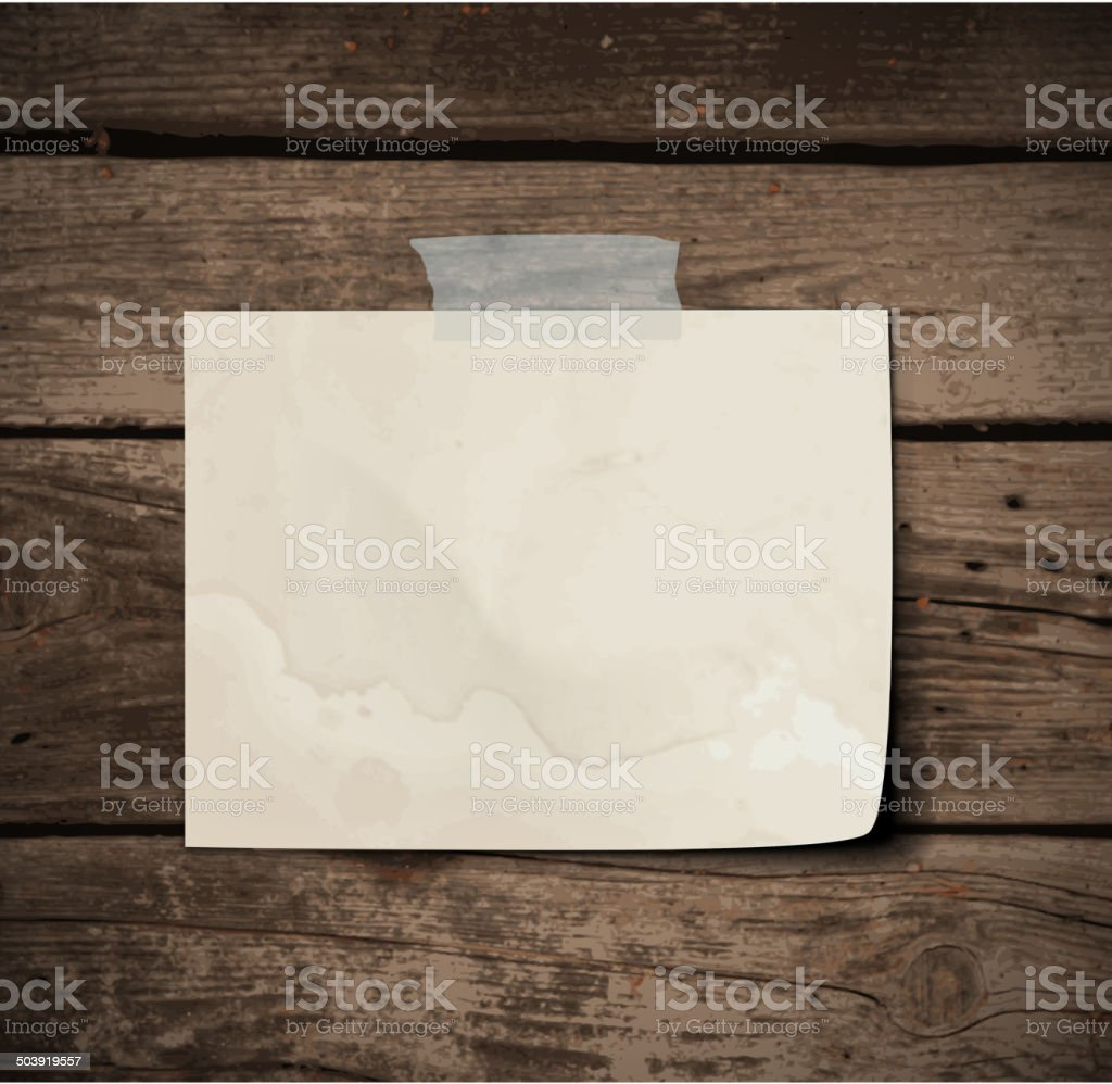 Paper on wooden Board vector art illustration