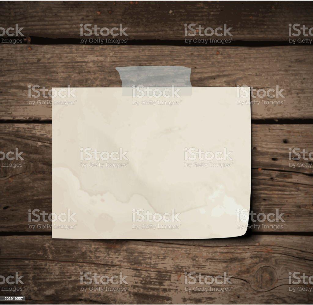 Paper on wooden Board vector art illustration