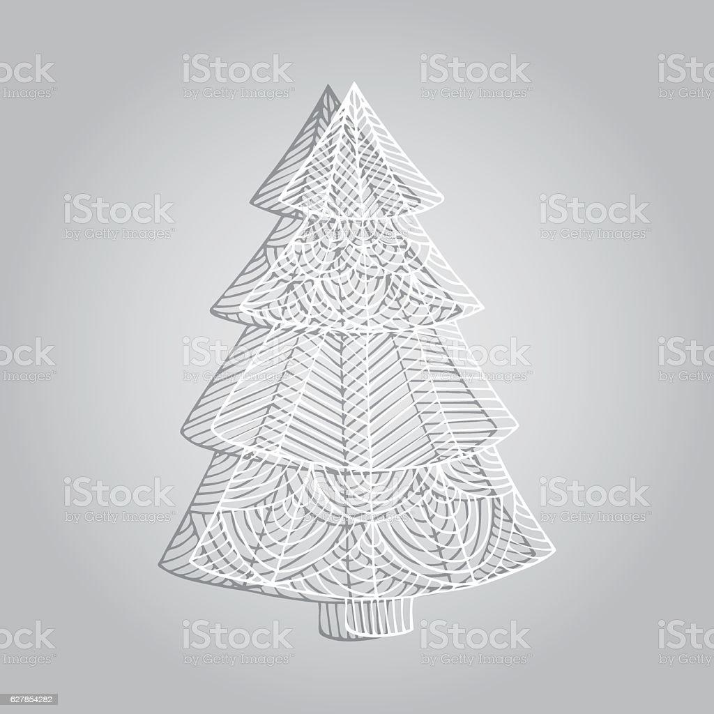 Paper openwork tree vector art illustration