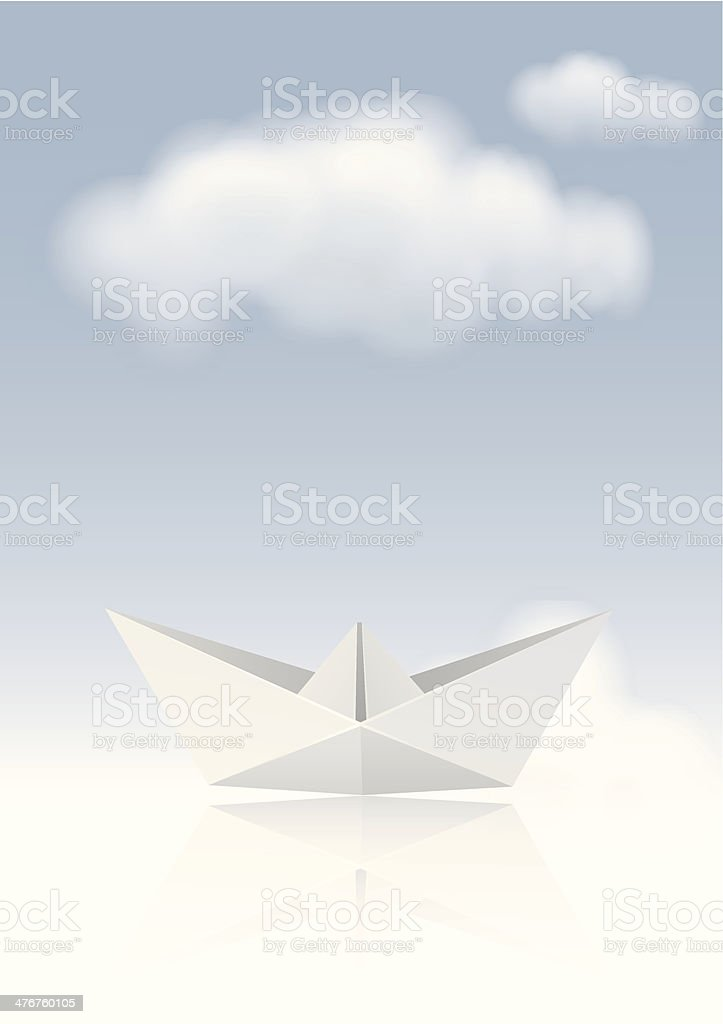 Paper Origami Boat royalty-free stock vector art