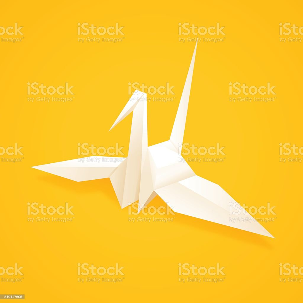 Paper Origami Crane vector art illustration