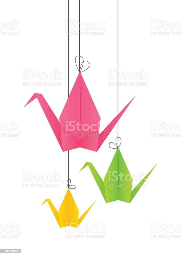 Paper origami cranes for Your design vector art illustration
