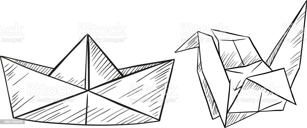 Paper origami for boat and bird vector art illustration