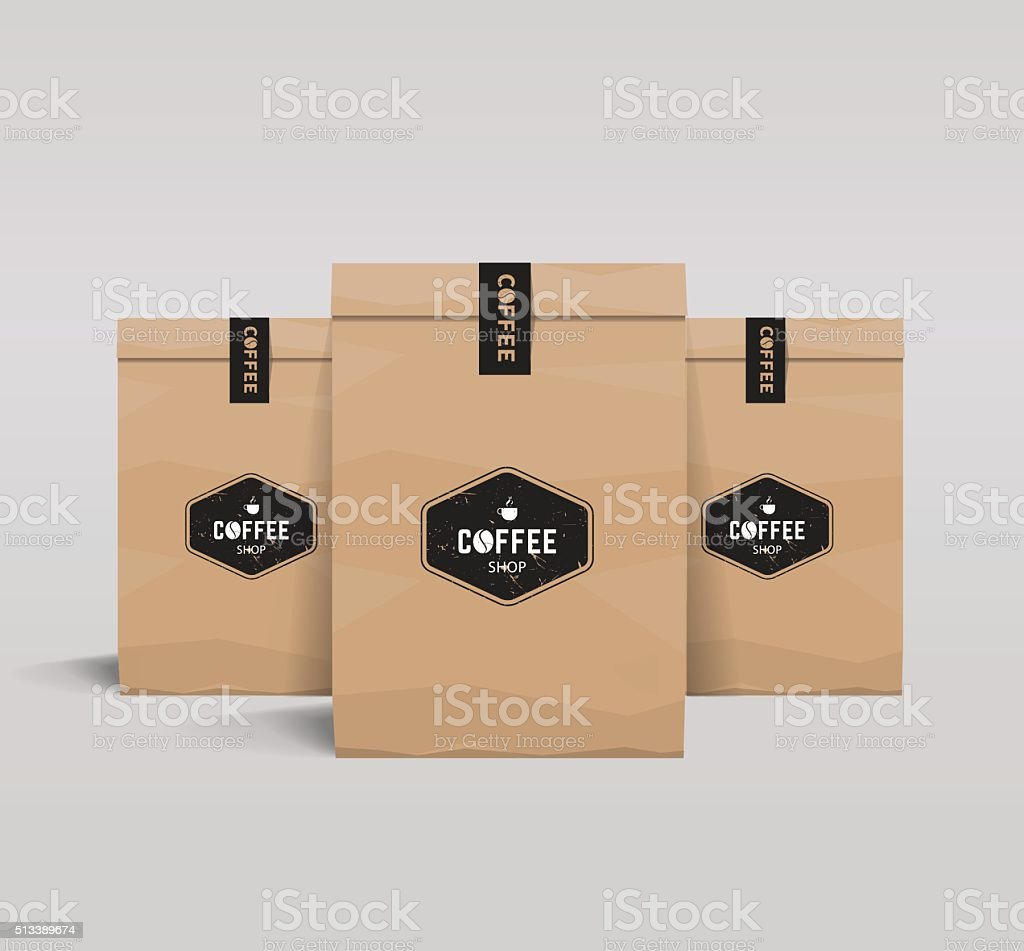 paper packaging mock up. coffee shop and restaurant. vector art illustration
