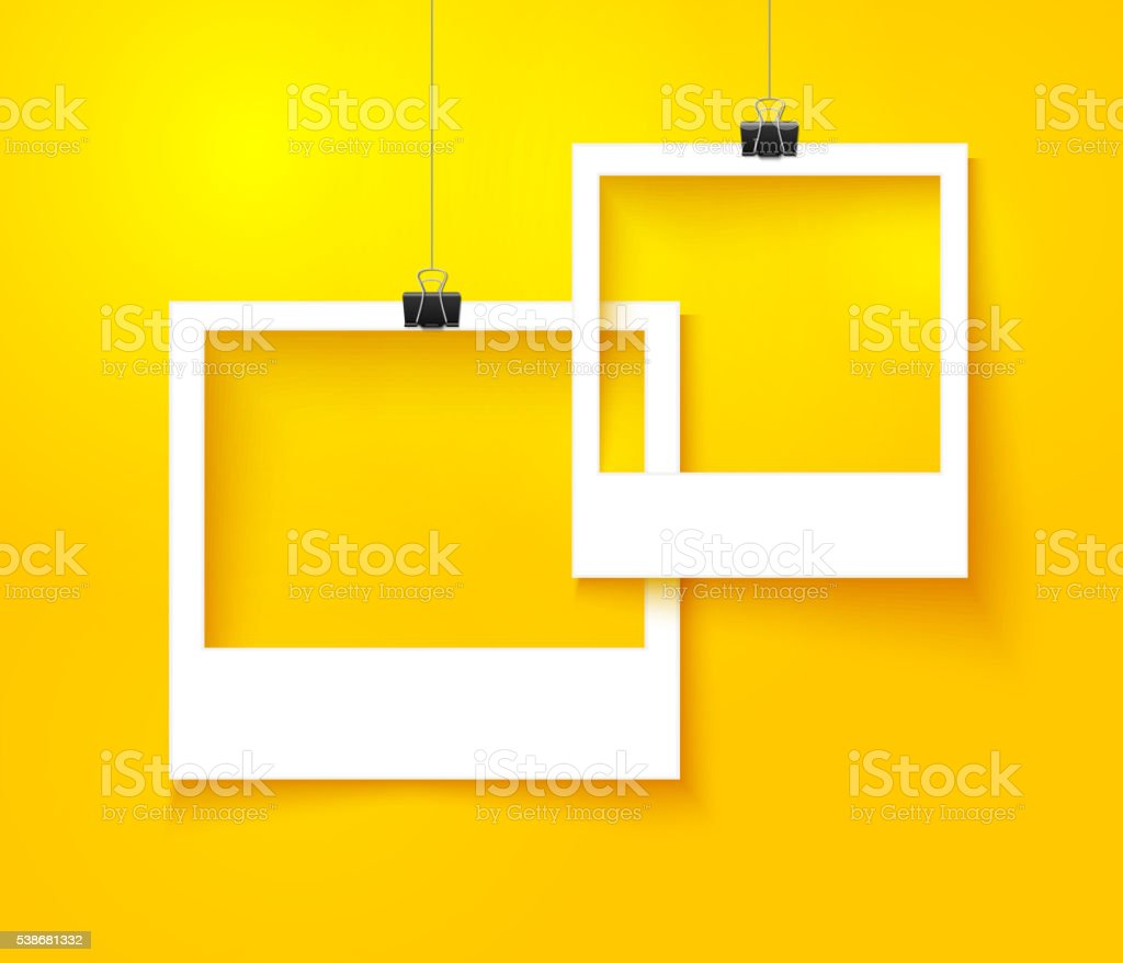 Paper photo frames composition. Vector template with bright orange background vector art illustration