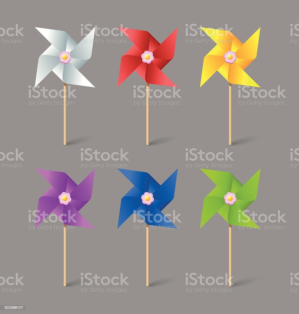 Paper pinwheels vector art illustration