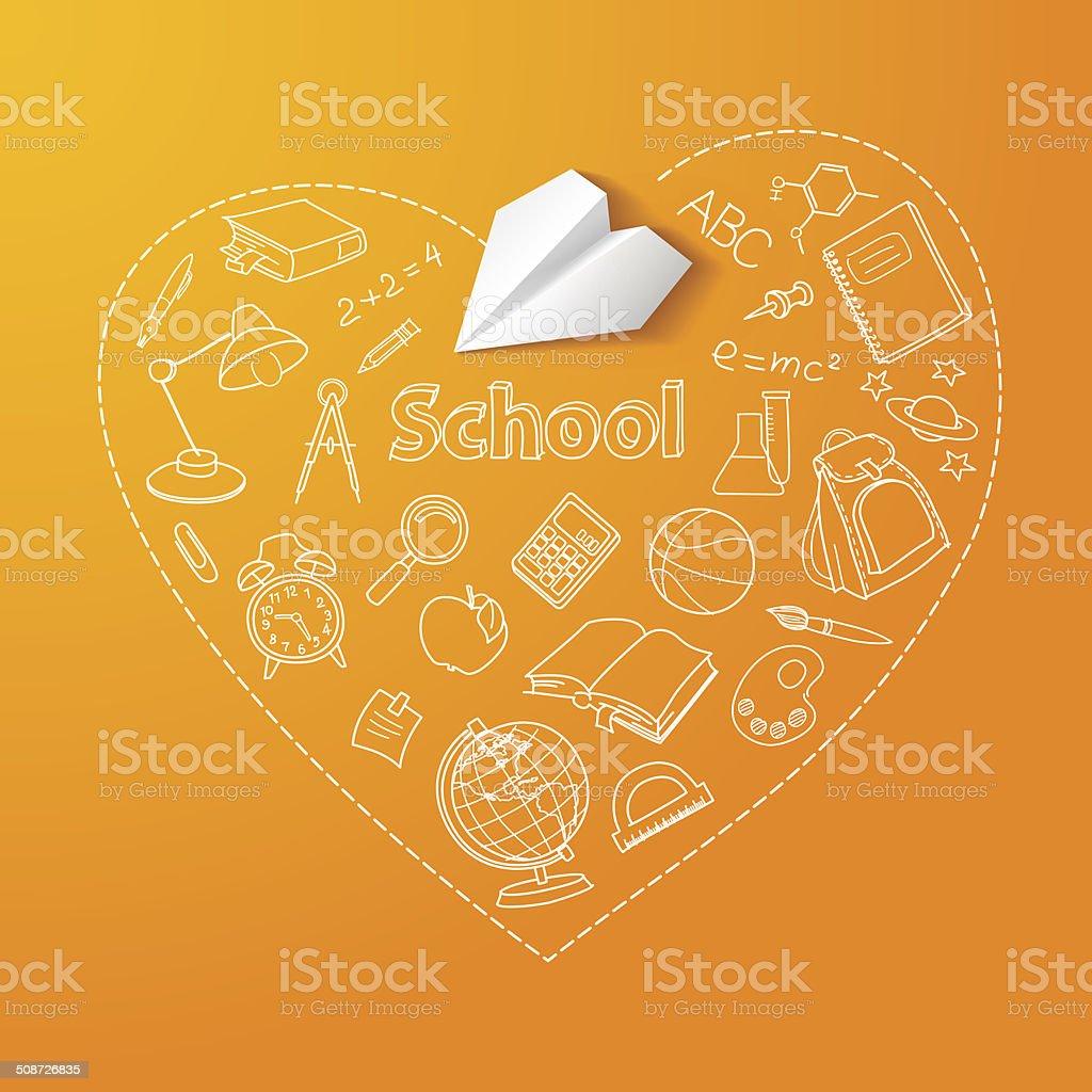 Avião de papel e escola doodle vetor de fundo vetor e ilustração royalty-free royalty-free