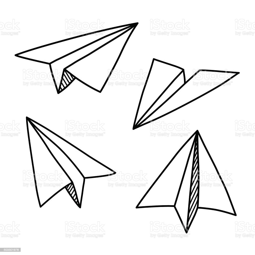 Paper plane doodles vector art illustration