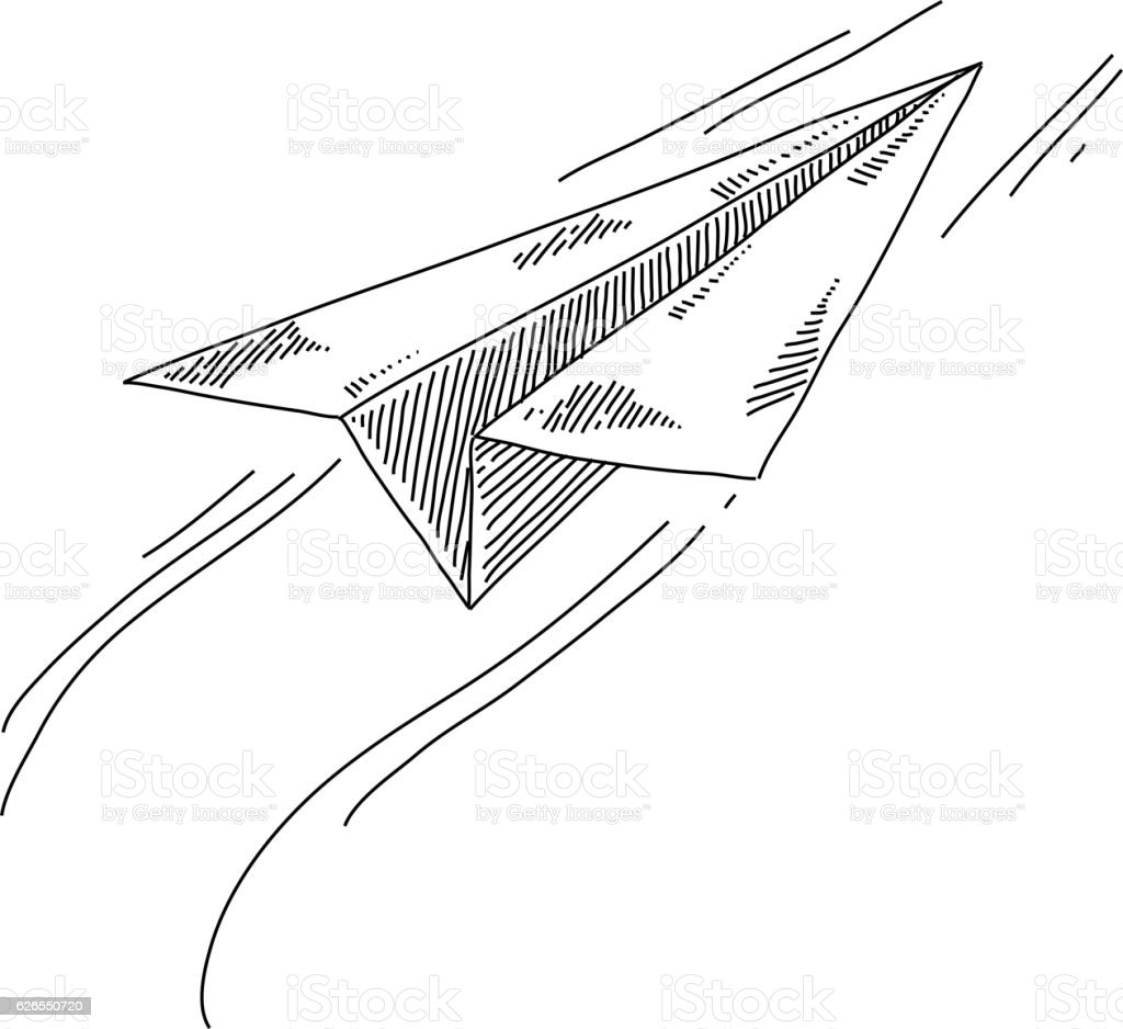 Paper plane Drawing vector art illustration