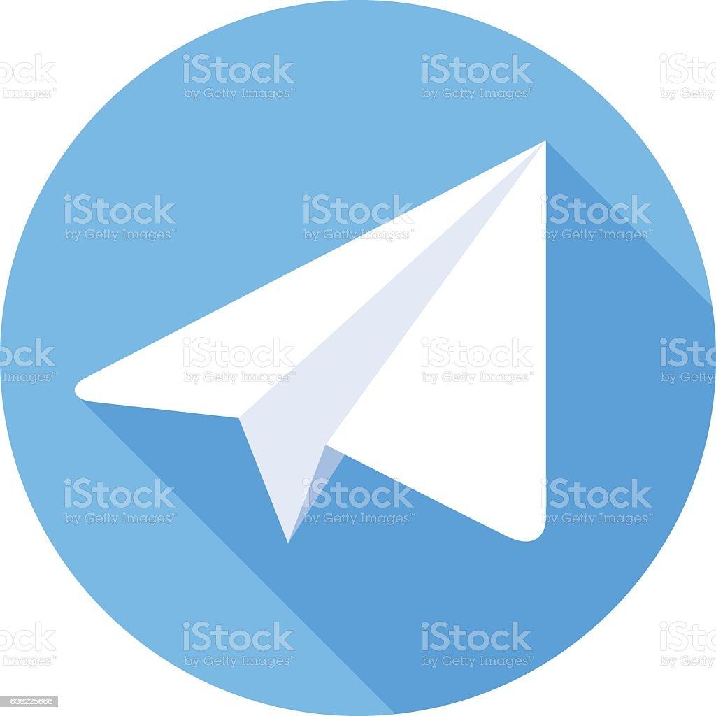 Paper Plane Flat Icon vector art illustration