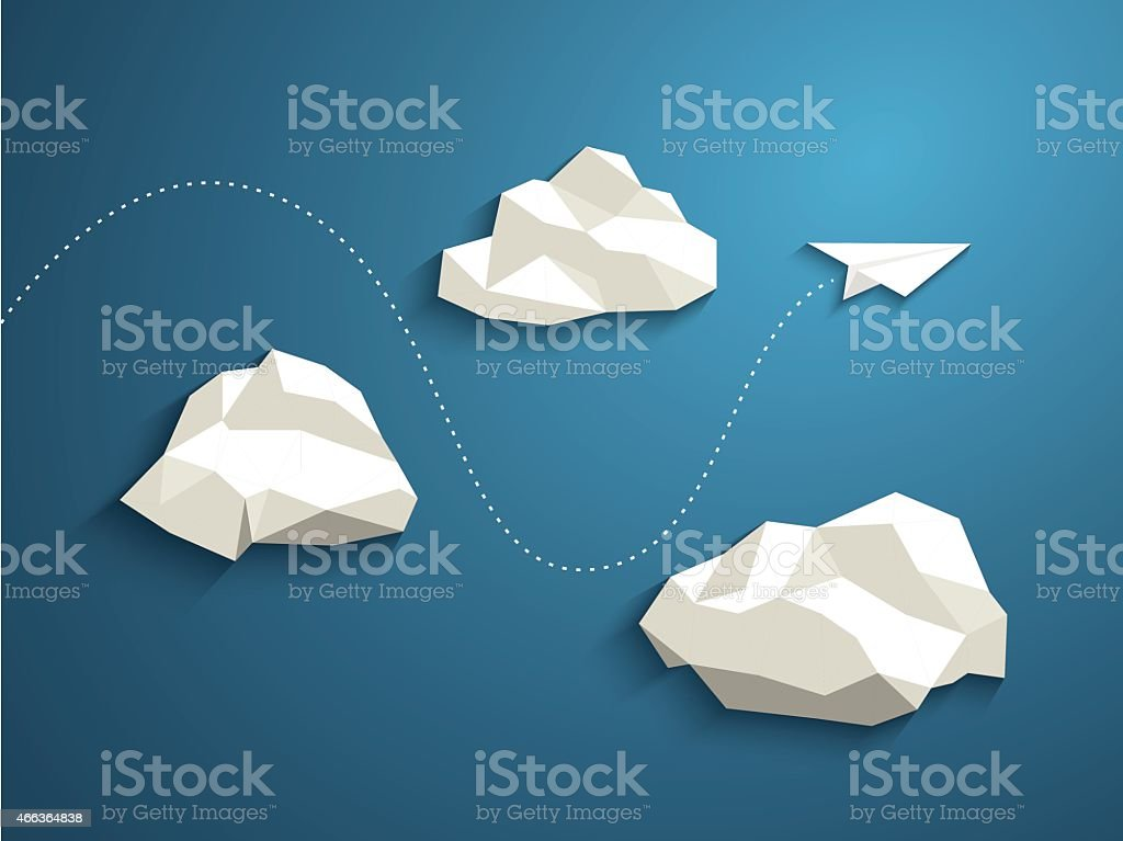 Paper plane flying between clouds. Modern polygonal shapes background, low vector art illustration