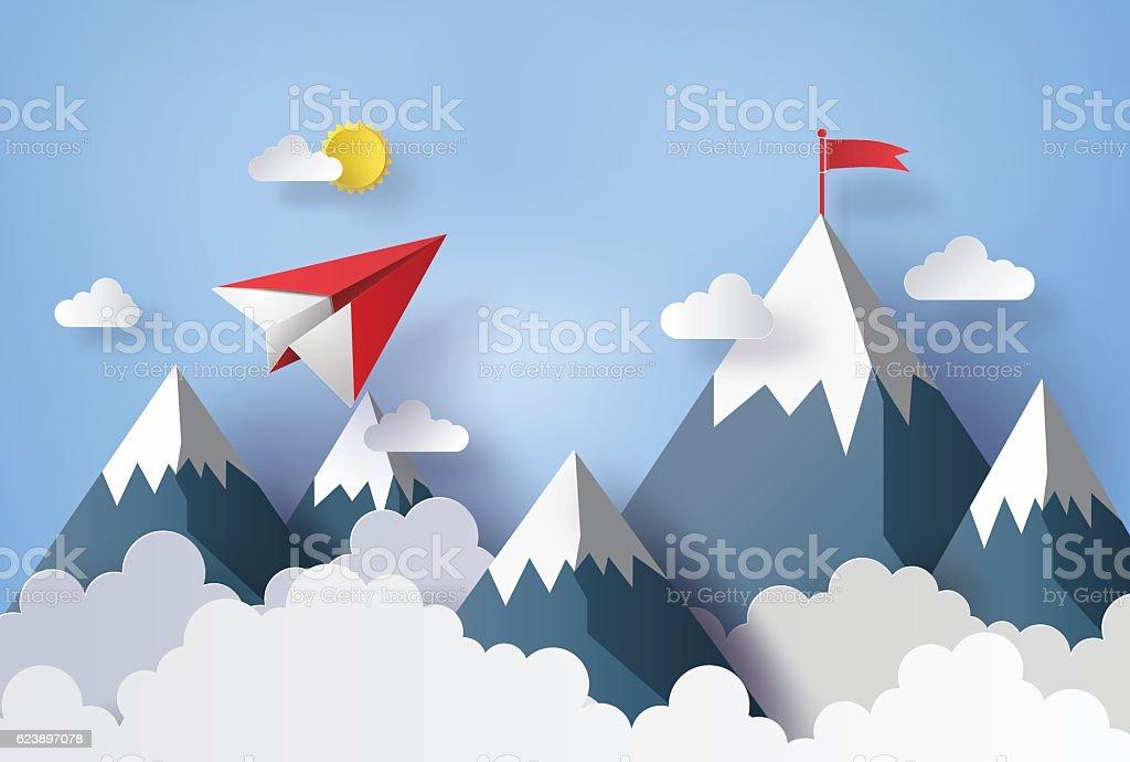 paper plane flying on sky. vector art illustration