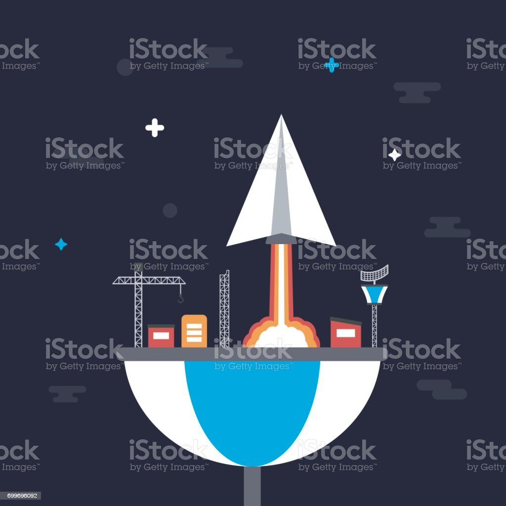 paper plane launch to space from base, innovation concept vector art illustration