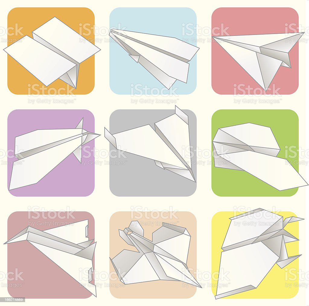 Paper Plane Model Collection Set royalty-free stock vector art