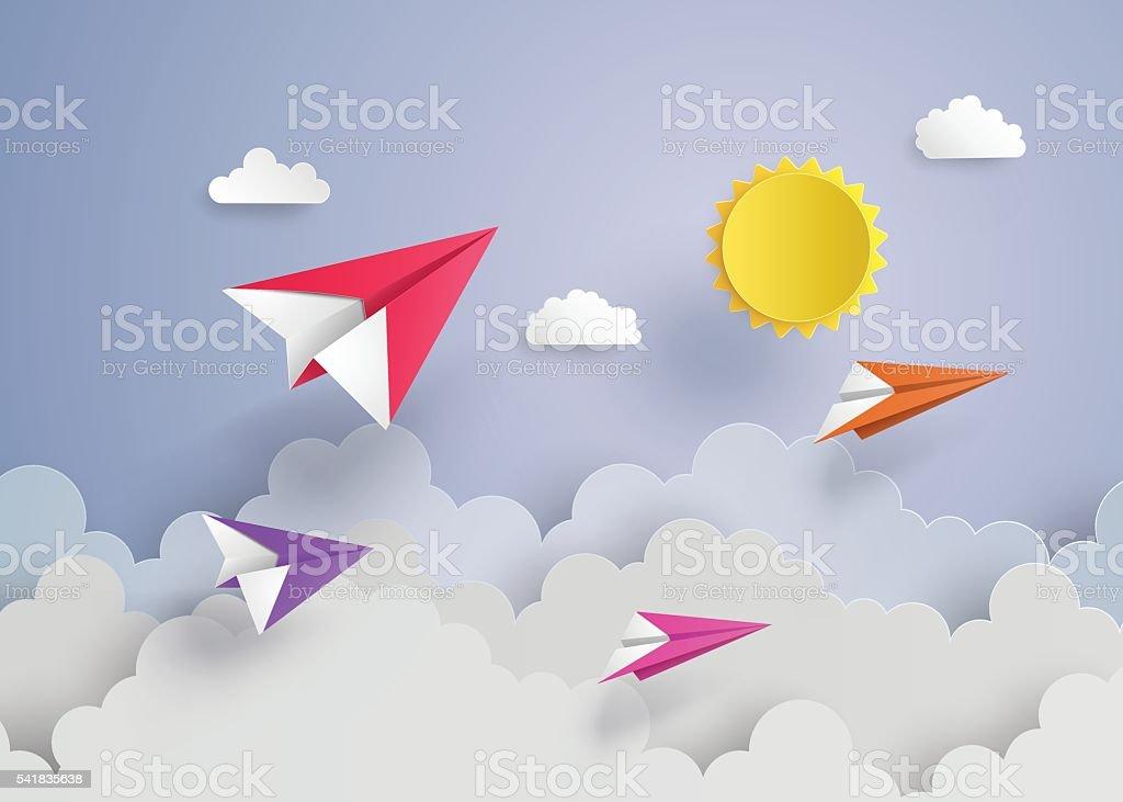 paper plane on blue sky vector art illustration