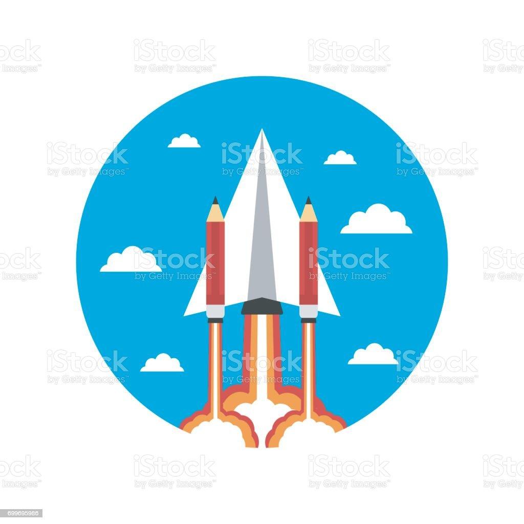 paper plane rocket vector art illustration