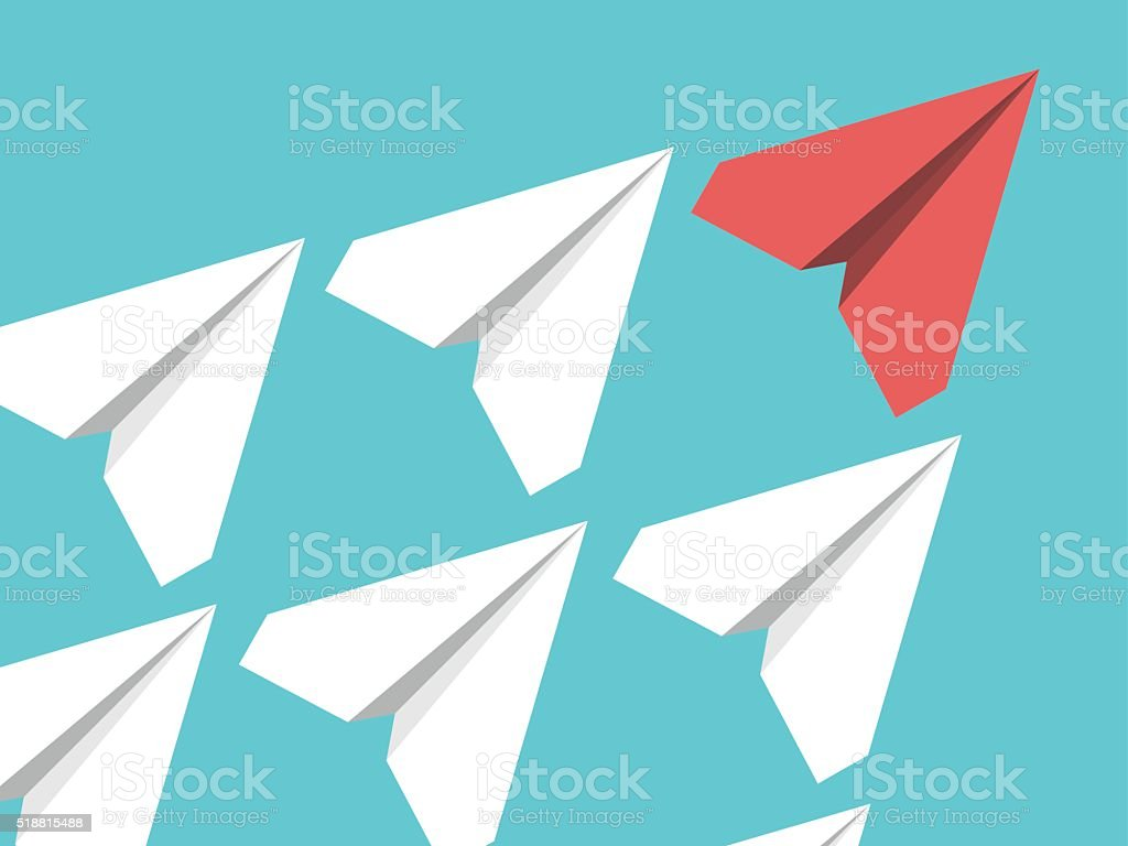 Paper planes, leadership concept vector art illustration