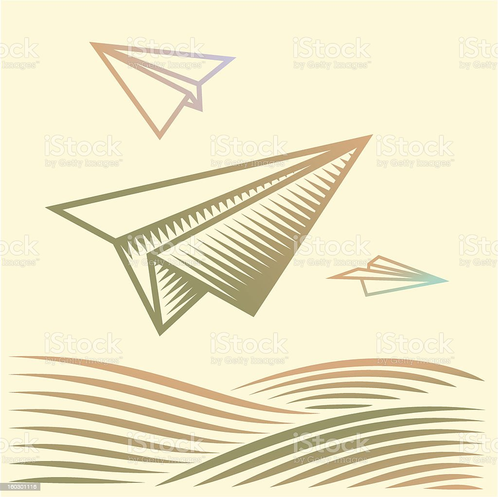 Paper planes over the field royalty-free stock photo