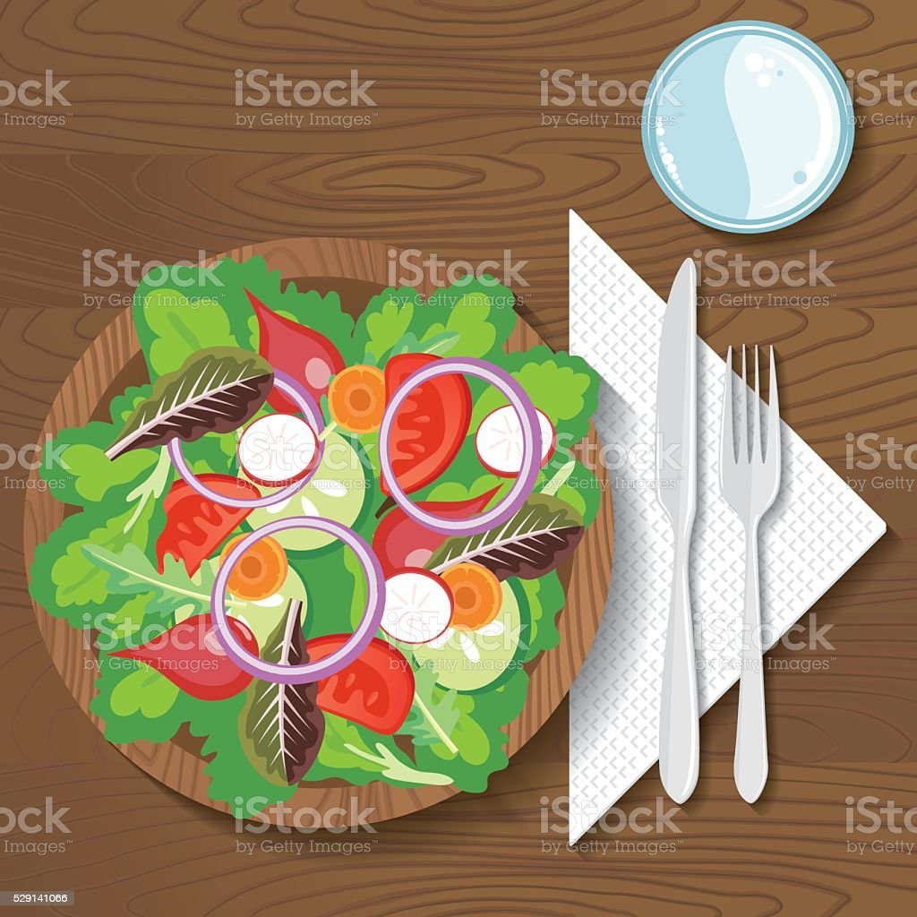 Paper Plate Of Food On A Wood Background vector art illustration