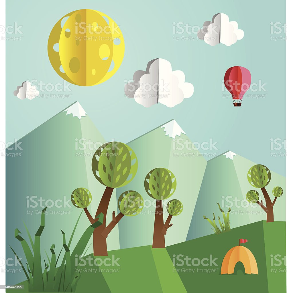 Paper pop up landscape vector art illustration