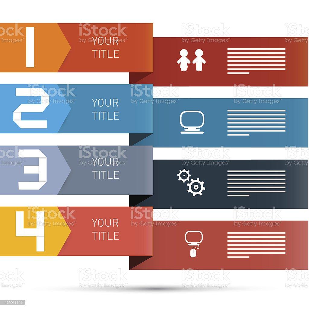 Paper Progress Steps for Tutorial, Infographics royalty-free stock vector art
