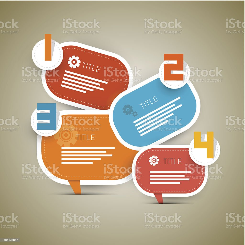 Paper Progress Steps for Tutorial royalty-free stock vector art