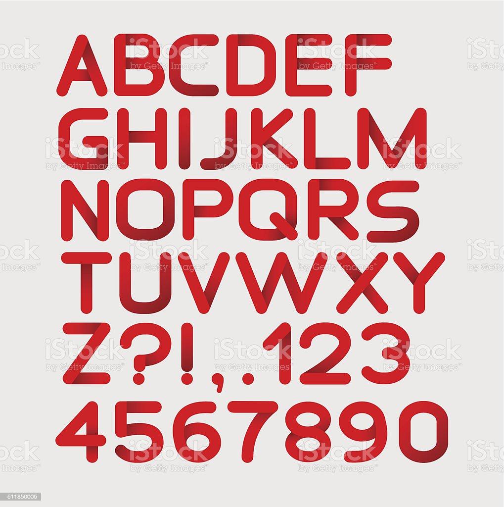 Бумага с красной строгие алфавит закругленный.  Изолированные на белый.  Яркие векторная иллюстрация