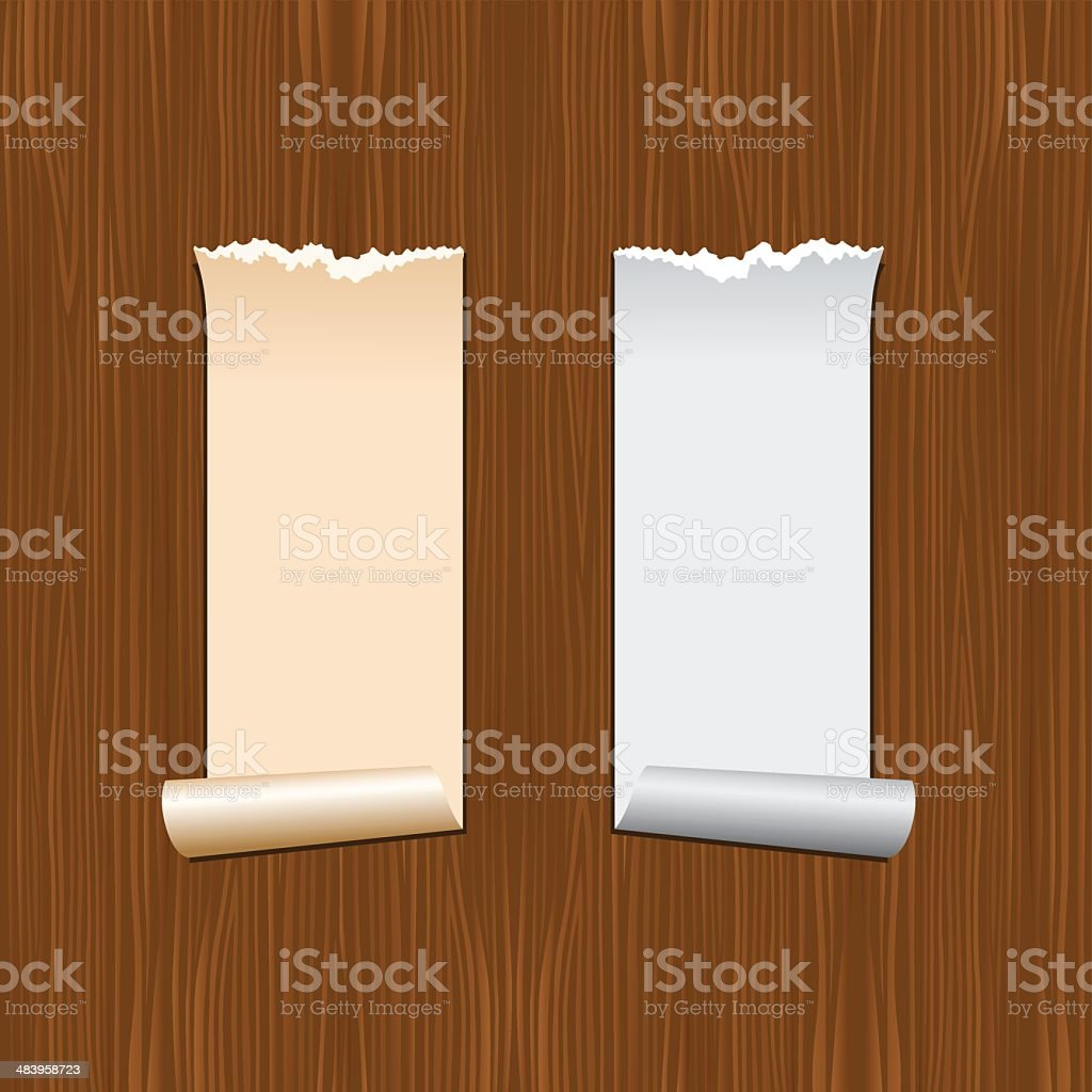 Paper roll with wooden texture royalty-free stock vector art