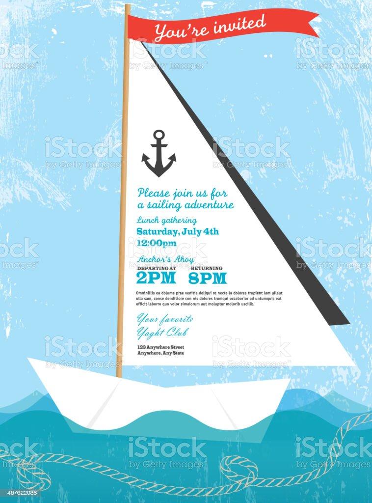 Paper sailboat sailing and yahting invitation design template vector art illustration