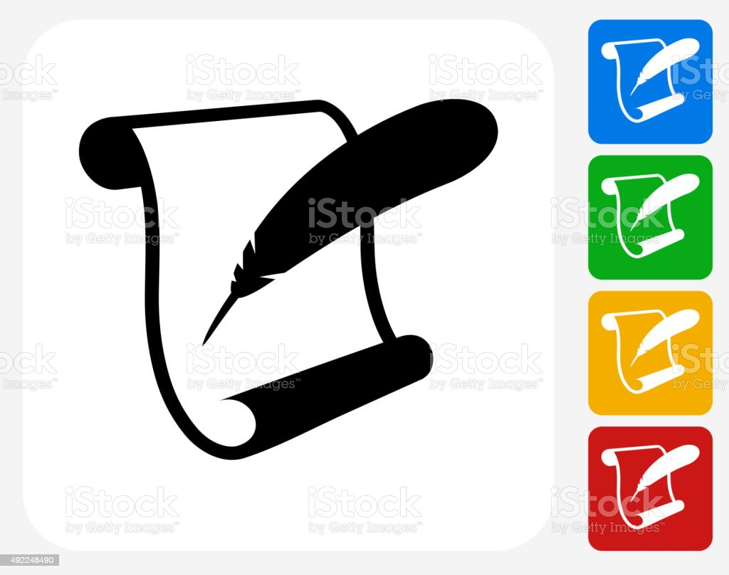 Paper Scroll and Feather Quill Icon Flat Graphic Design vector art illustration