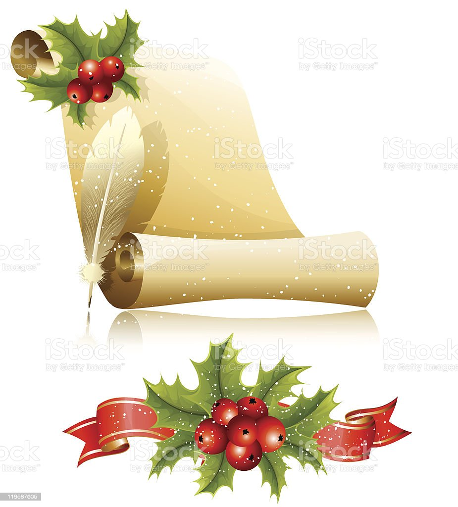 Paper scroll with feather and Christmas holly royalty-free stock vector art