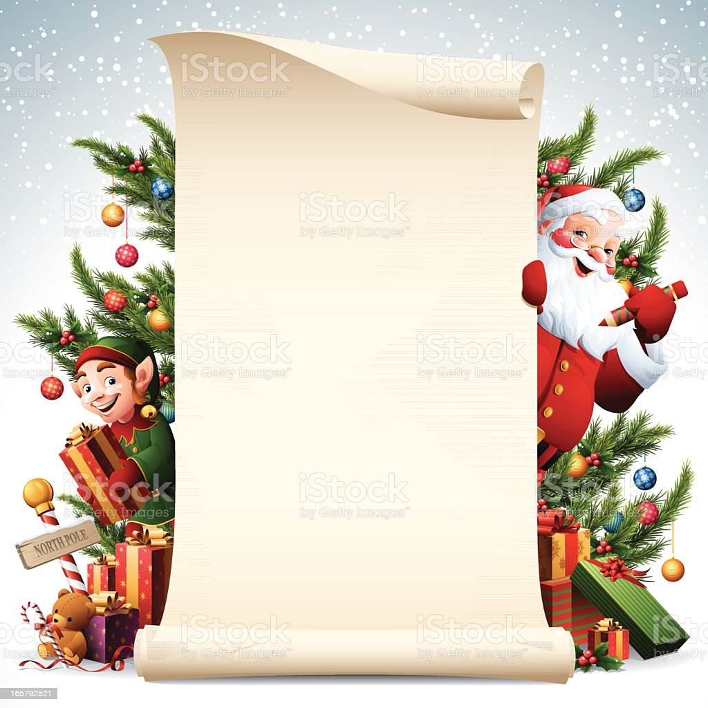 Paper scroll with Santa and Elf and christmas tree decorations vector art illustration