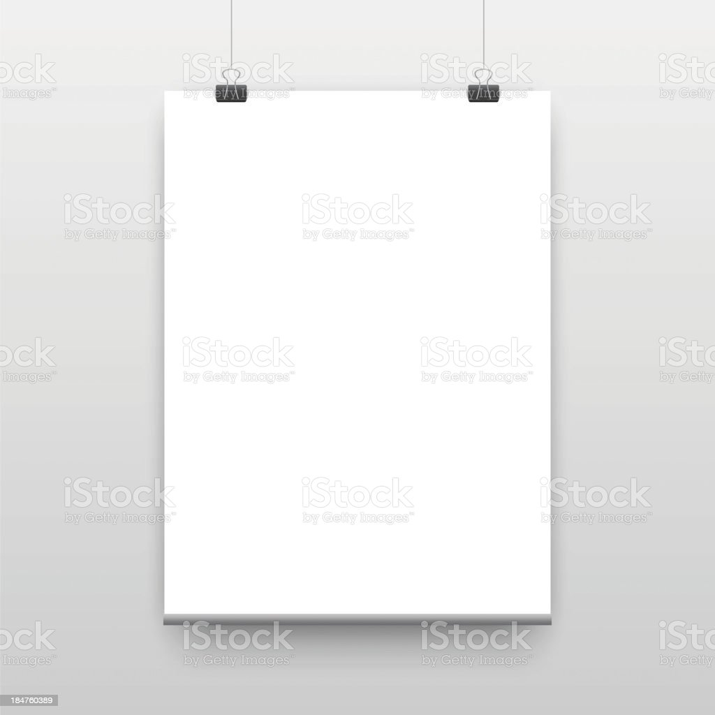 Paper sheet hanging from paper clips royalty-free stock vector art