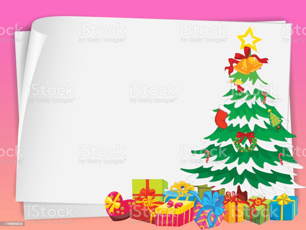 Paper sheets and gift boxes royalty-free stock vector art