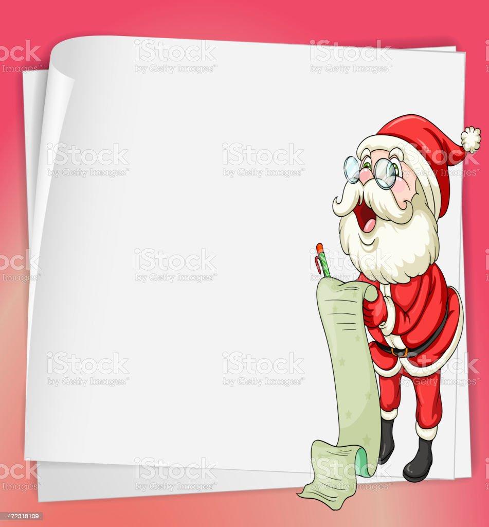 paper sheets and santa claus royalty-free stock vector art