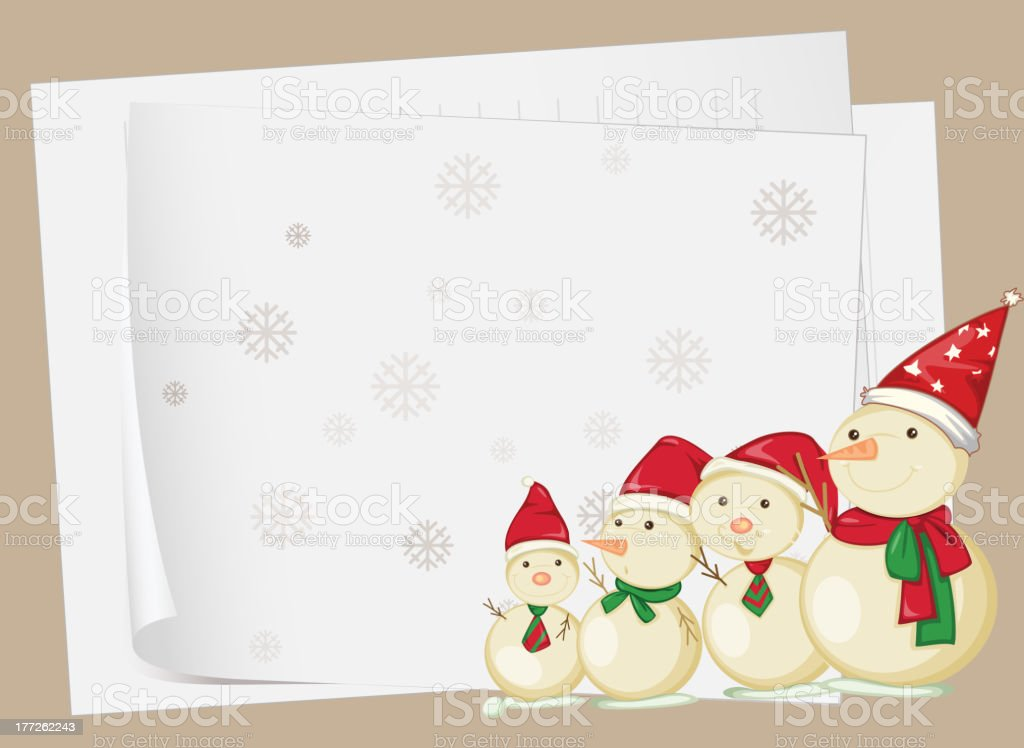 Paper sheets and snowmen royalty-free stock vector art